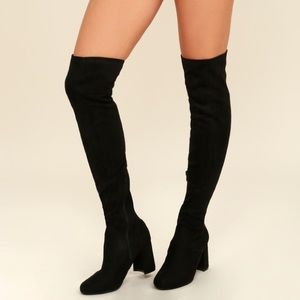 Tahlia Black Suede Over the Knee Boots